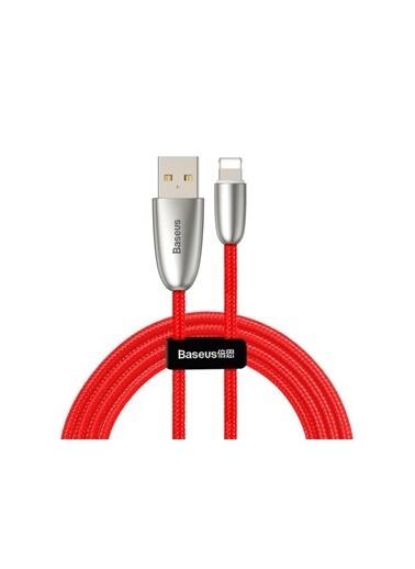 Baseus Torch Series Çinko Iphone Led Işıklı Şarj Kablosu-Kırmızı-Calhj-D09 Renkli
